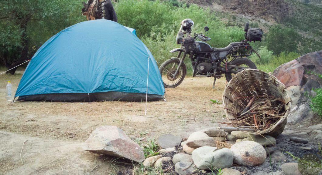 A Bike, A tent, A fire