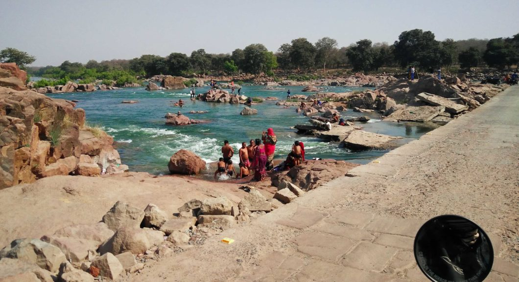 Locals bathing in the Betwa river