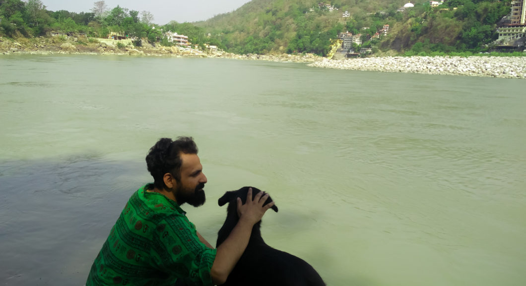 Man, Dog, River